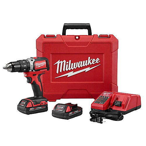 M18 18V Lithium-Ion Brushless Cordless 1/2-Inch Compact Hammer Drill/Driver Kit W/ (2) Batteries