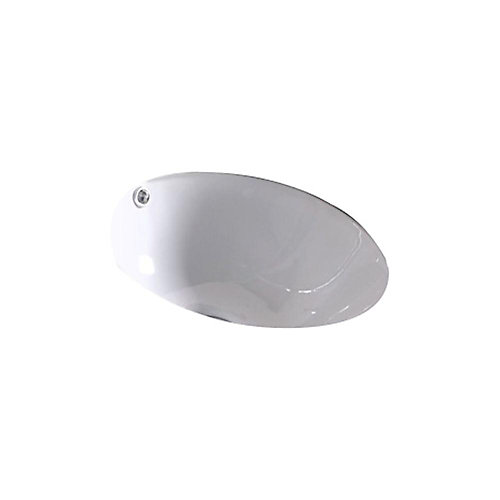 14-inch W x 14-inch D Round Undermount Sink in White with Enamel Glaze Finish in Brushed Nickel