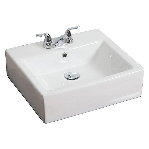 American Imaginations 20-inch W x 18-inch D Rectangular Vessel Sink in White with Brushed Nickel