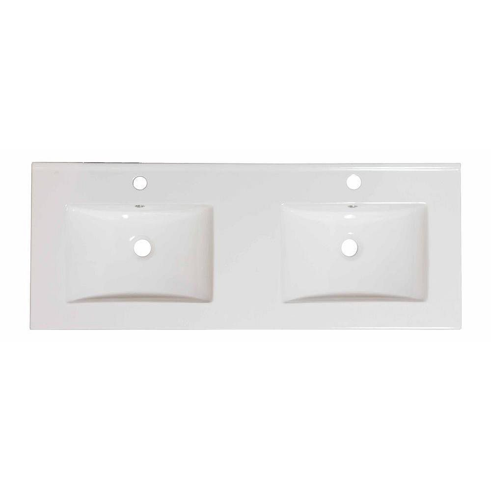 American Imaginations 60-inch W x 18 1/2-inch D Ceramic Top in White for Single Hole Faucet in Brushed Nickel