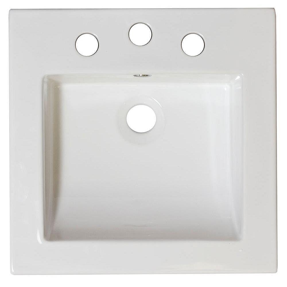 American Imaginations 16,5 po W x 16.5 po D haut céramique de couleur blanche pour 4 po robinet oc - nickel brossé