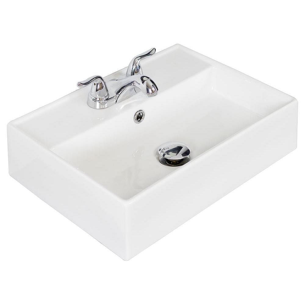 American Imaginations 20-inch W x 14-inch D Rectangular Vessel Sink in White with Chrome