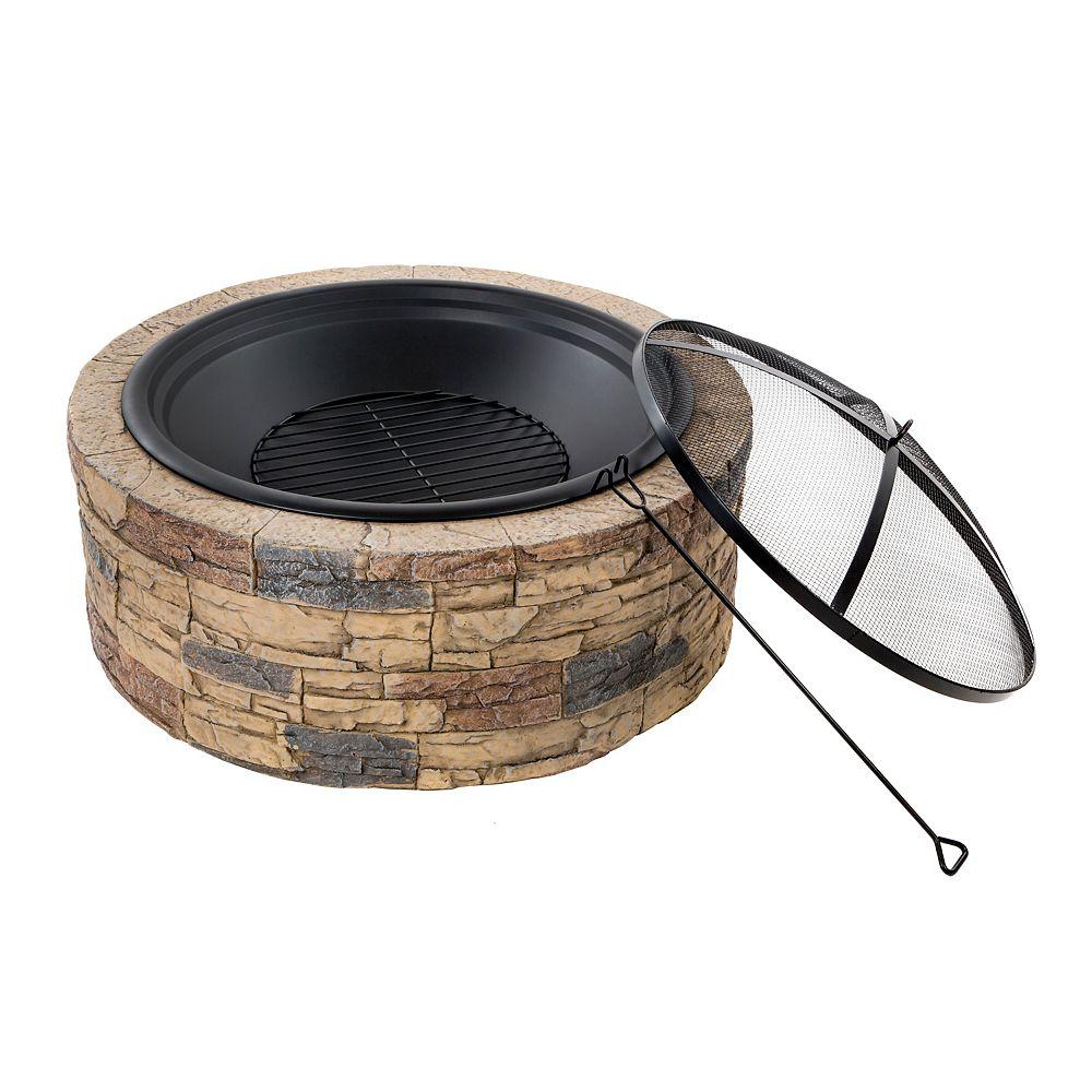 Sun Joe Fire Joe 35-inch Cast Stone Fire Pit