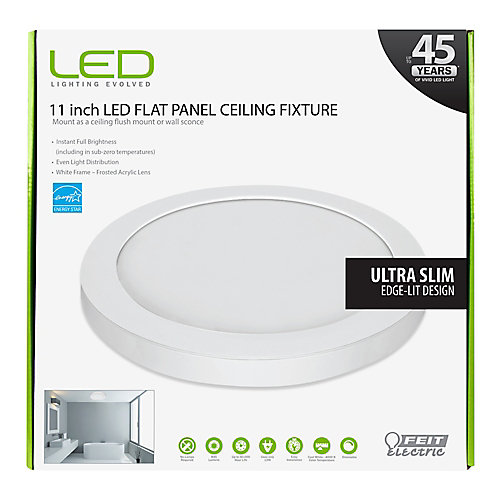 11-inch White Integrated LED Round Edge Flushmount Light Fixture - ENERGY STAR®