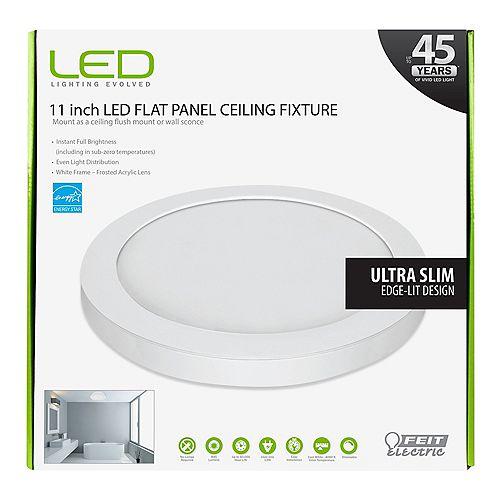 11-inch White Integrated LED Round Edge Flushmount Light Fixture - ENERGY STAR®