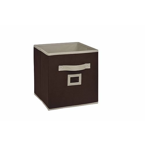 10.5-inch Fabric Drawer Cube in Brown