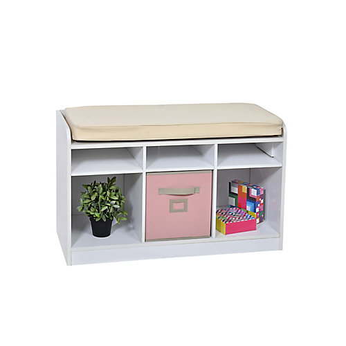 6-Cube Storage Bench in White with White Pillow Top