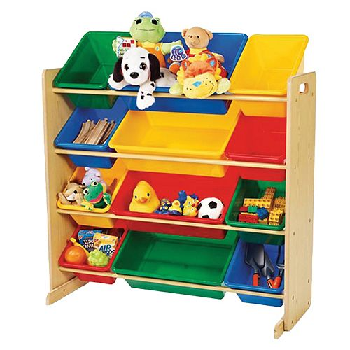 12 Bin Natural Wood Organizer-primary