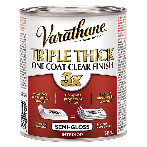 Triple Thick Interior One Coat Water-Based Clear Finish In Semi-Gloss Clear, 946 Ml