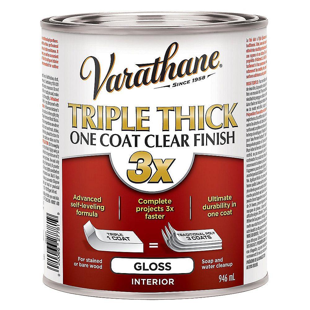 Varathane Triple Épaisseur Fini Clair À Une Couche Intérieur À Base D'Eau En Clair Lustré - 946 Ml
