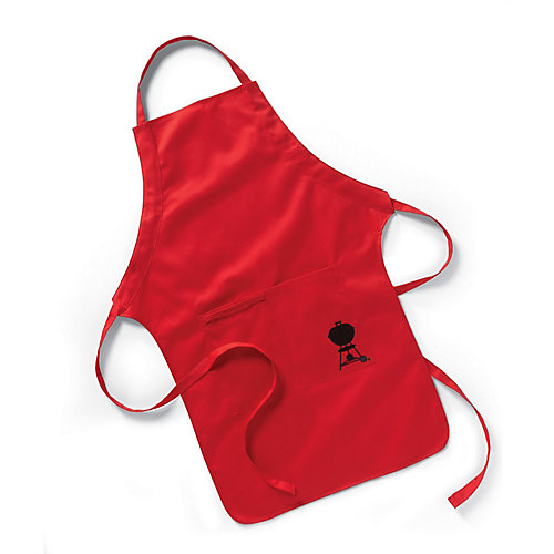 BBQ Apron in Red with Embroidered Black Kettle