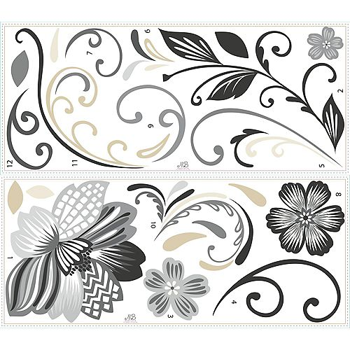 RoomMates RoomMates Stickers Muraux Black and White Flower Scroll