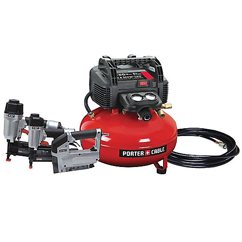 6 Gal. 150 PSI Portable Electric Air Compressor, 16-Gauge Nailer, 18-Gauge Nailer and 3/8-inch Stapler Combo Kit (3-Tool)