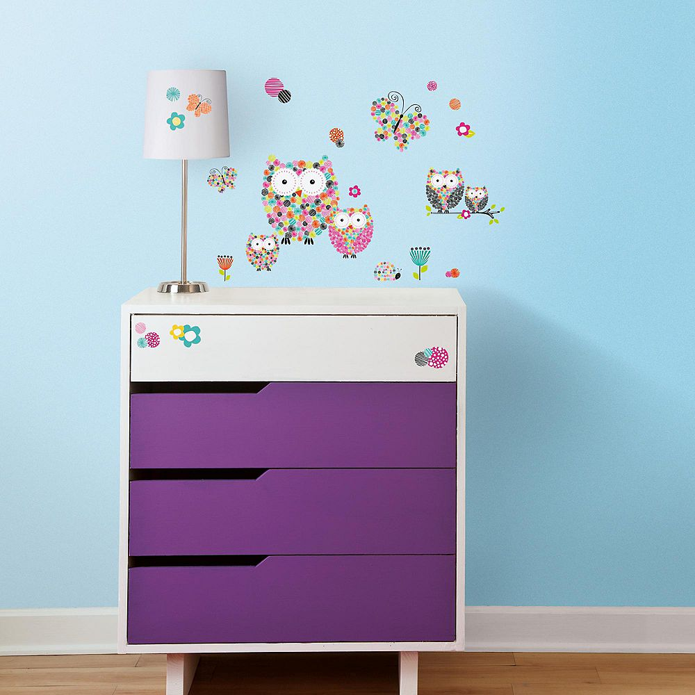 Roommates Prismatic Owls Peel Stick Wall Decals The Home Depot Canada