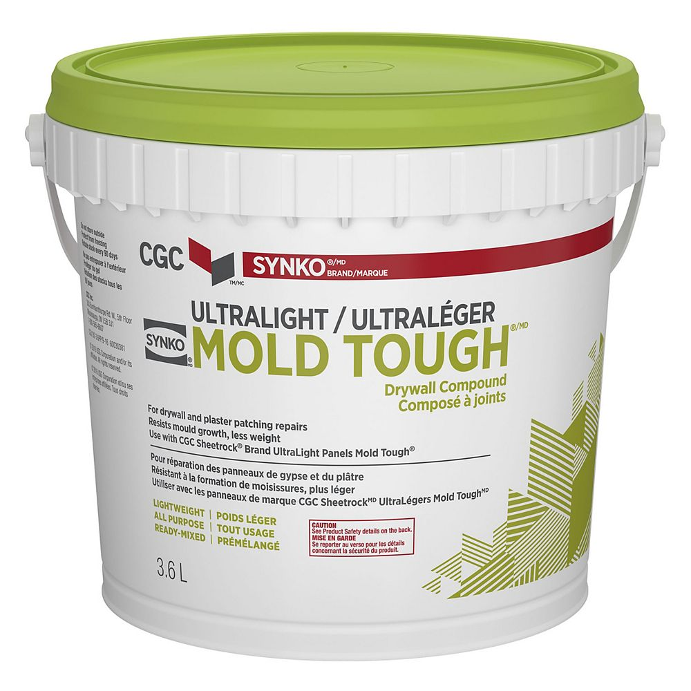 CGC Synko UltraLight Mold Tough Drywall Compound, 3.6 L Pail