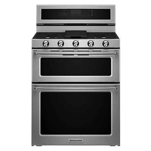 Double cuisinière à double four de 6,7 pi3 avec four à convection autonettoyant en acier inoxydable