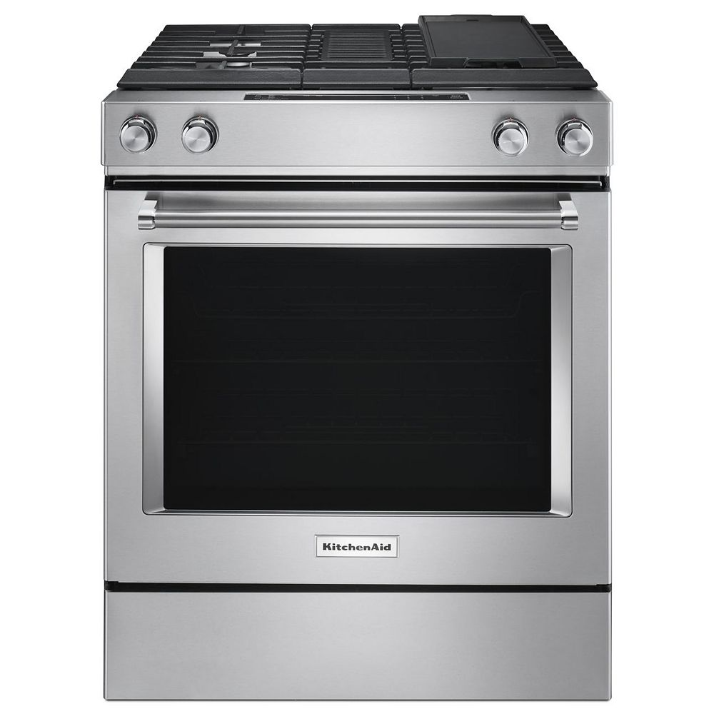 KitchenAid 6.3 cu. ft. Slide-In Dual Fuel Range with Downdraft in Stainless Steel