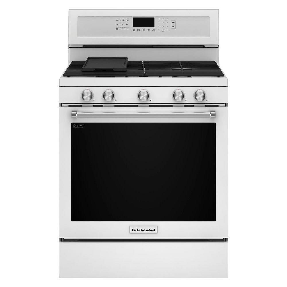 KitchenAid 5.8 cu. ft. Gas Range with Self-Cleaning Convection Oven in White