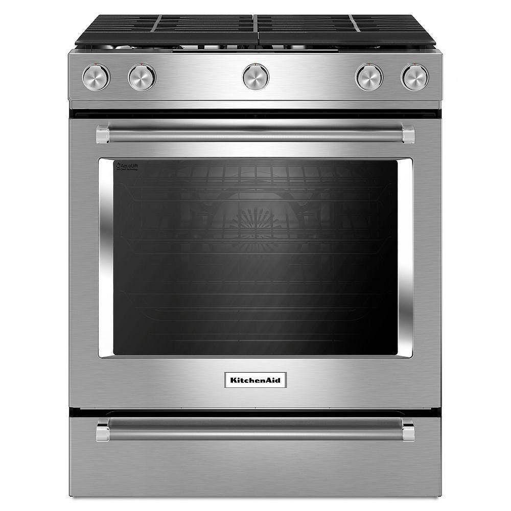 Kitchenaid 5 8 Cu Ft Slide In Gas Range With Self Cleaning Convection Oven In Stainless The Home Depot Canada