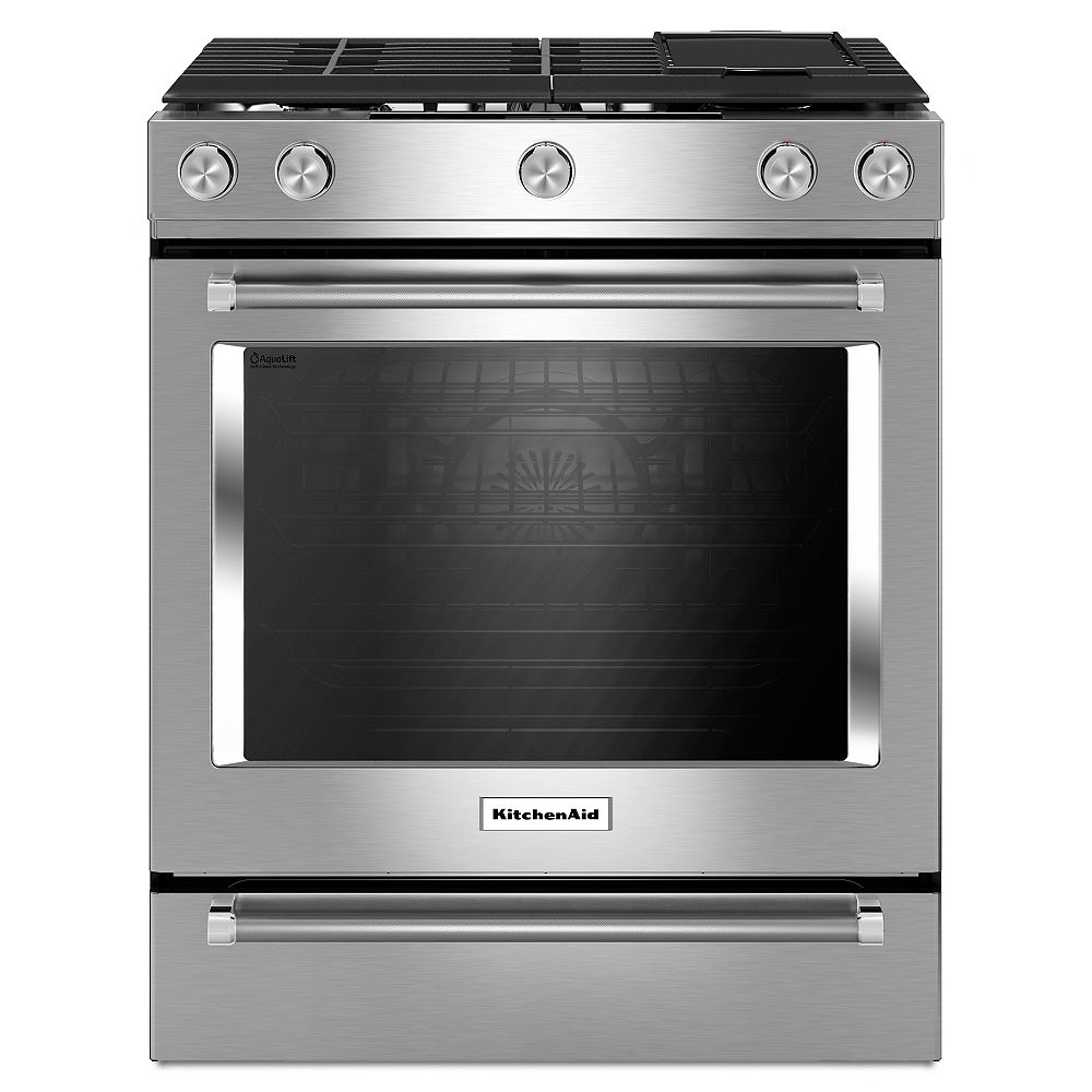 KitchenAid 6.5 cu. ft. Slide-In Gas Range with Self-Cleaning Convection Oven in Stainless Steel