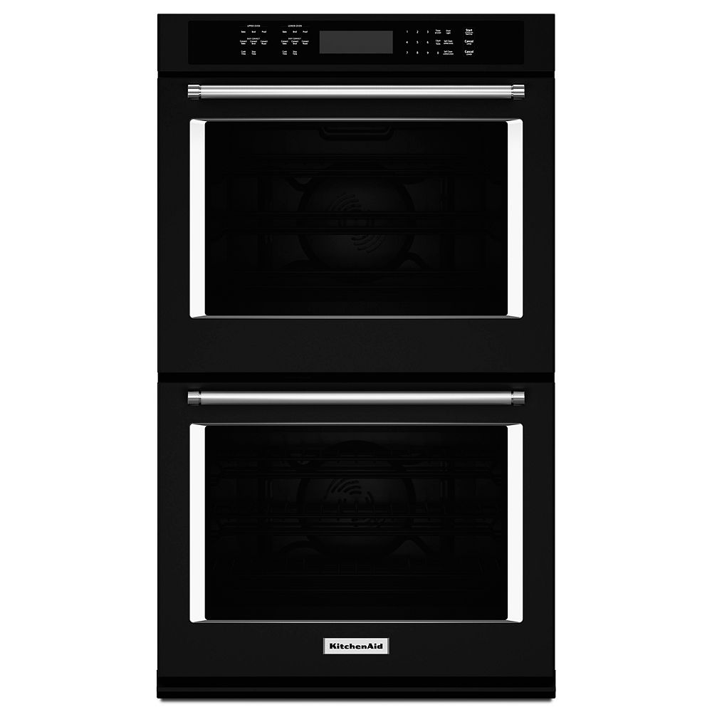 KitchenAid 30-inch 10 cu. ft. Double Electric Wall Oven Self-Cleaning with Convection in Black