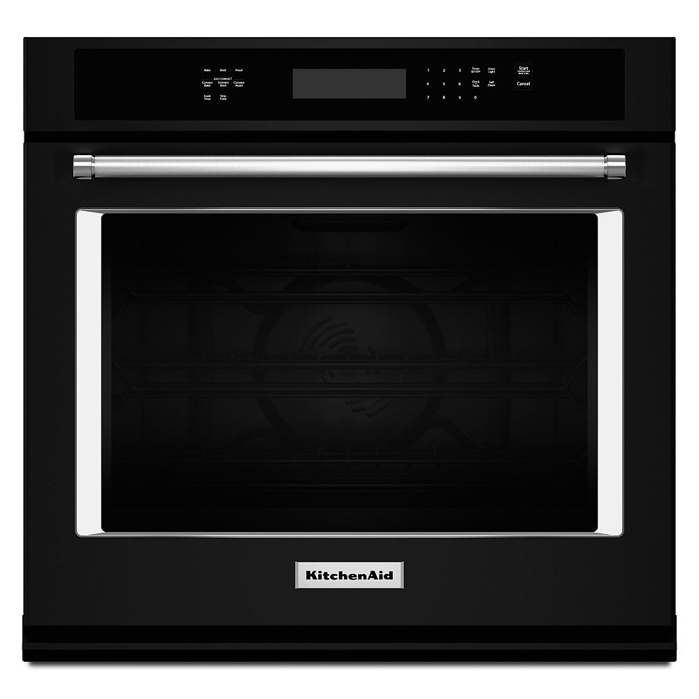KitchenAid 30-inch 5.0 cu. ft. Single Electric Wall Oven Self-Cleaning with Convection in Black
