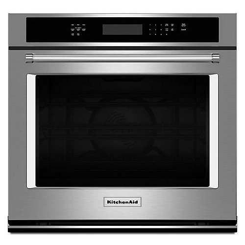 30-inch 5.0 cu. ft. Single Electric Wall Oven Self-Cleaning with Convection in Stainless Steel