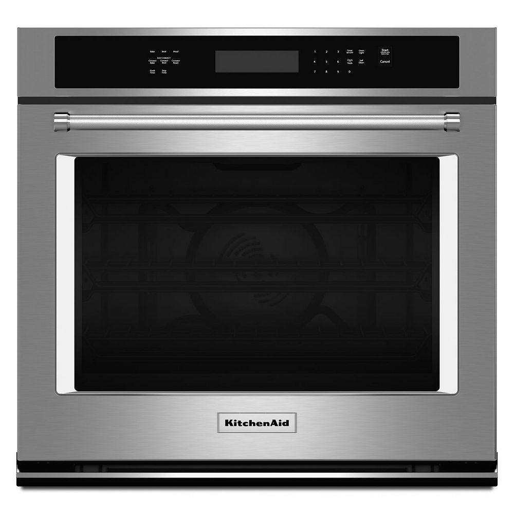KitchenAid 27-inch 4.3 cu. ft. Single Electric Wall Oven Self-Cleaning with Convection in Stainless Steel
