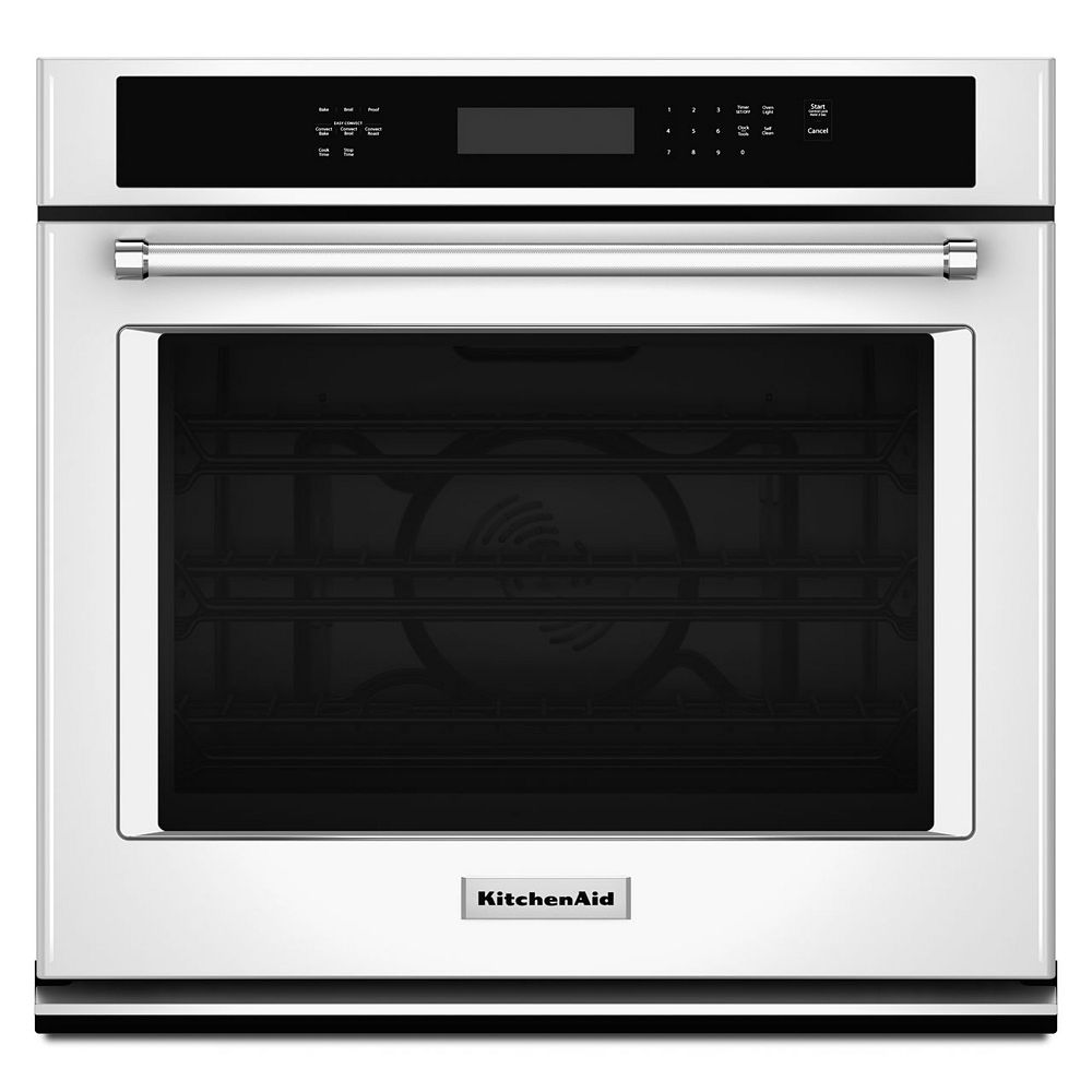 KitchenAid 27-inch 4.3 cu. ft. Single Electric Wall Oven Self-Cleaning with Convection in White