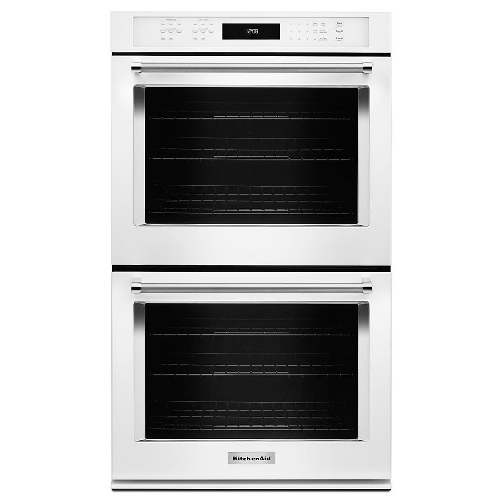 KitchenAid 27-inch 8.6 cu. ft. Double Electric Wall Oven Self-Cleaning with Convection in White
