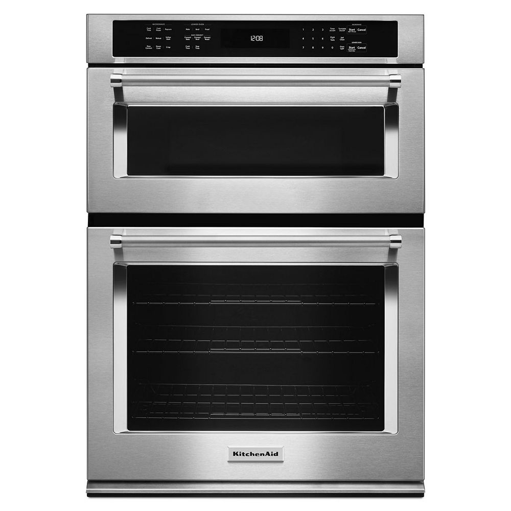 KitchenAid 30-inch 5.0 cu. ft. Double Electric Wall Oven & Microwave with Convection in Stainless Steel