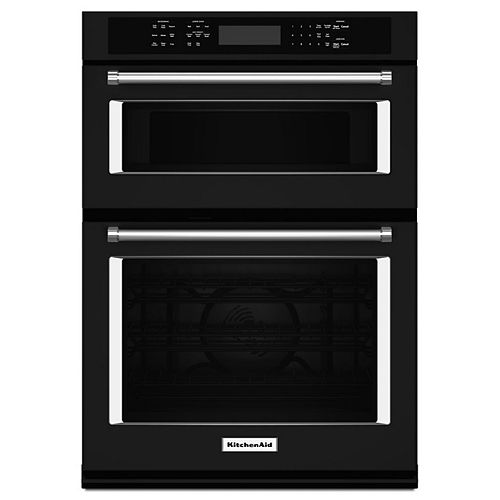KitchenAid 27-inch 4.3 cu. ft. Double Electric Wall Oven & Microwave with Convection in Black