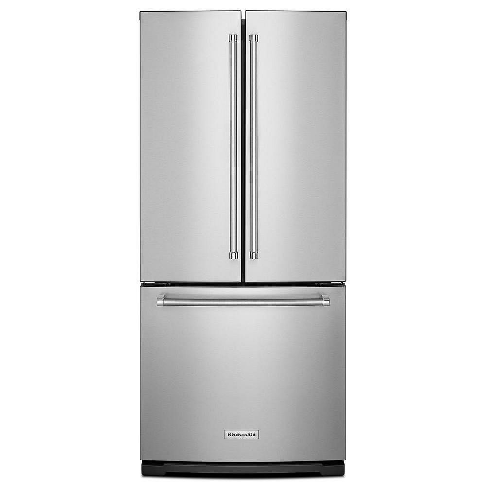 KitchenAid Réfrigérateur à porte française en acier inoxydable de 30 po W 20 pi3