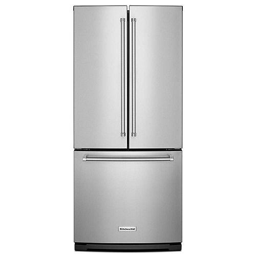 Réfrigérateur à porte française en acier inoxydable de 30 po W 20 pi3