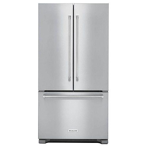 Réfrigérateur à porte française de 36 po W 22 pi. cu. en acier inoxydable, profondeur du comptoir