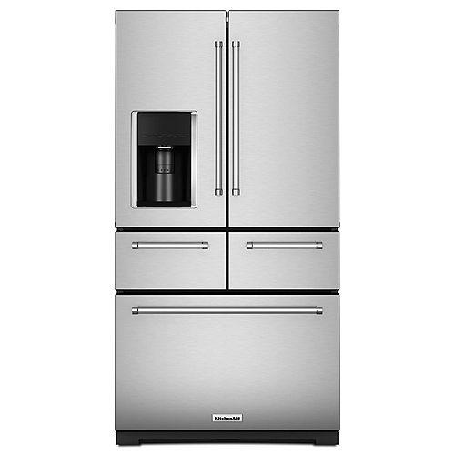 Réfrigérateur à porte française multi-portes en acier inoxydable de 36 po W 25,8 pi3 avec intérieur en platine.