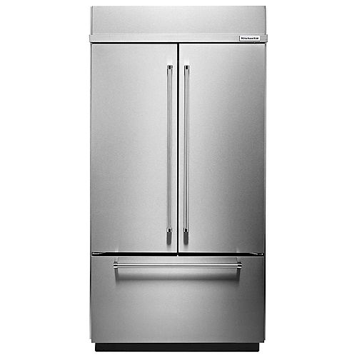 KitchenAid 42-inch W 24.2 cu. ft. Built-In French Door Platinum Interior Refrigerator in Stainless Steel, Counter Depth - ENERGY STAR®