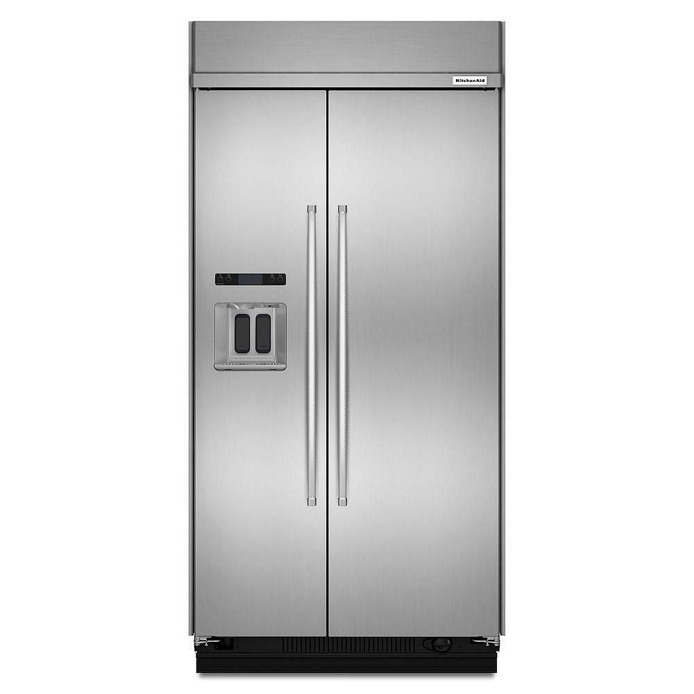 KitchenAid 48-inch W 29.5 cu. ft. Built-In Side by Side Refrigerator in Fingerprint Resistant Stainless Steel, Counter Depth - ENERGY STAR®