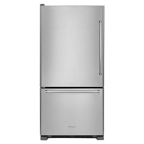 KitchenAid 33-inch W 22 cu. ft. Bottom Freezer Refrigerator in Stainless Steel - ENERGY STAR®