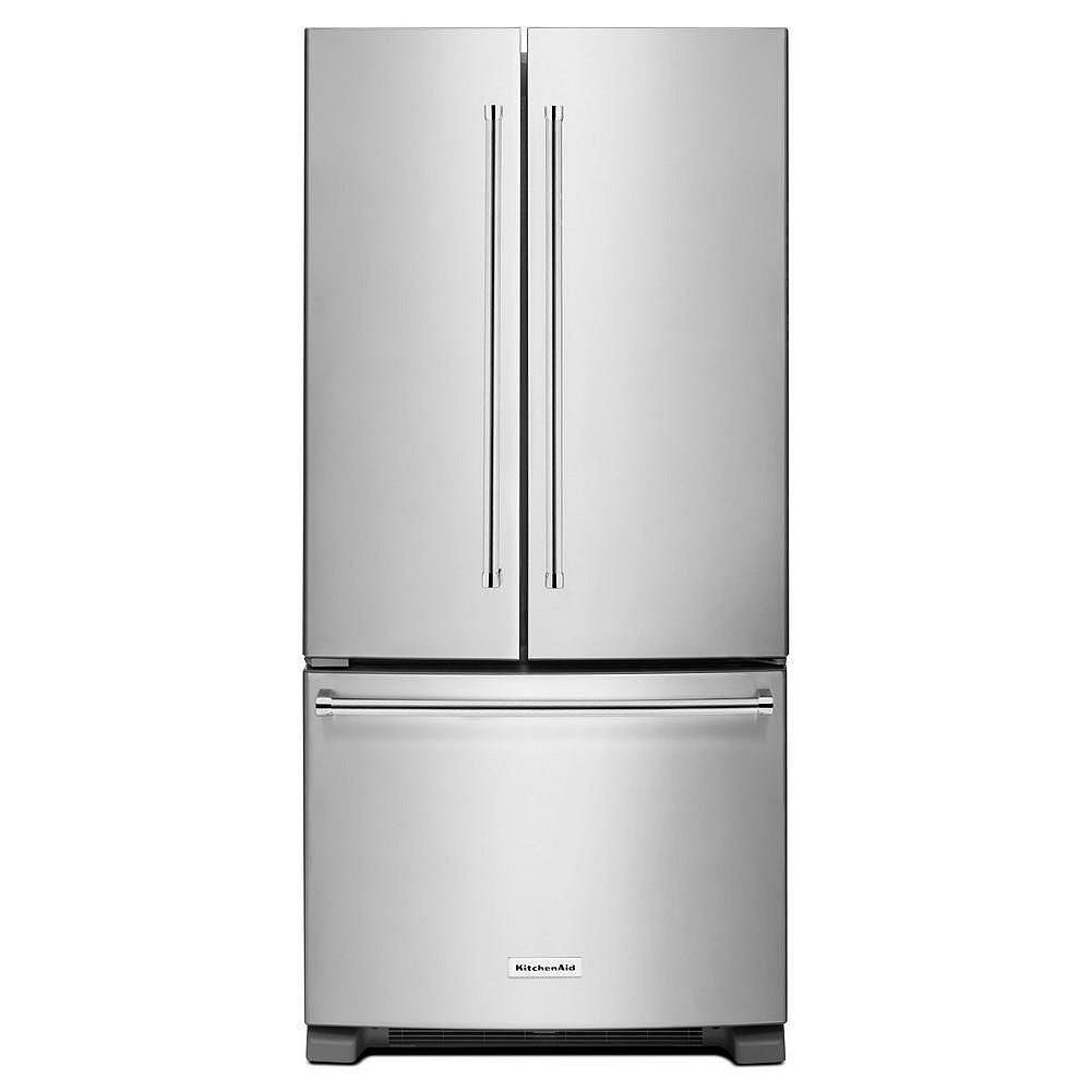 KitchenAid Réfrigérateur à porte française en acier inoxydable de 33 po W 22 pi3 - ENERGY STAR