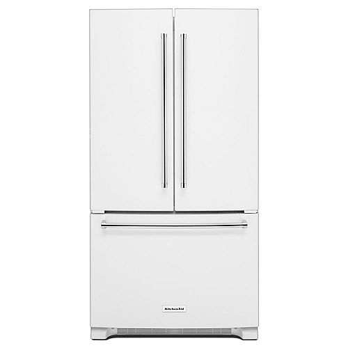 KitchenAid 36-inch W 25 cu.ft. Built-In French Door Refrigerator in White - ENERGY STAR®