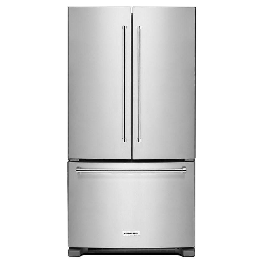 KitchenAid Réfrigérateur encastré à deux battants de 36 po et 20 pi. cu.en acier inoxydable, profondeur de comptoir  - ENERGY STAR®