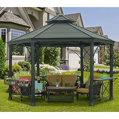 Holden 12 ft. x 14 ft. Hexagonal Hard Top Gazebo with Vented Canopy in Black