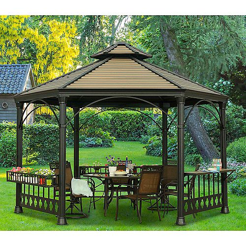 Holden Hexagonal Hard Top Gazebo with Vented Canopy in Copper