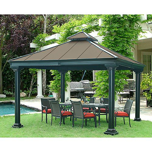 Broadway 12 ft. x 12 ft. Hard Top Gazebo with Vented Canopy in Copper