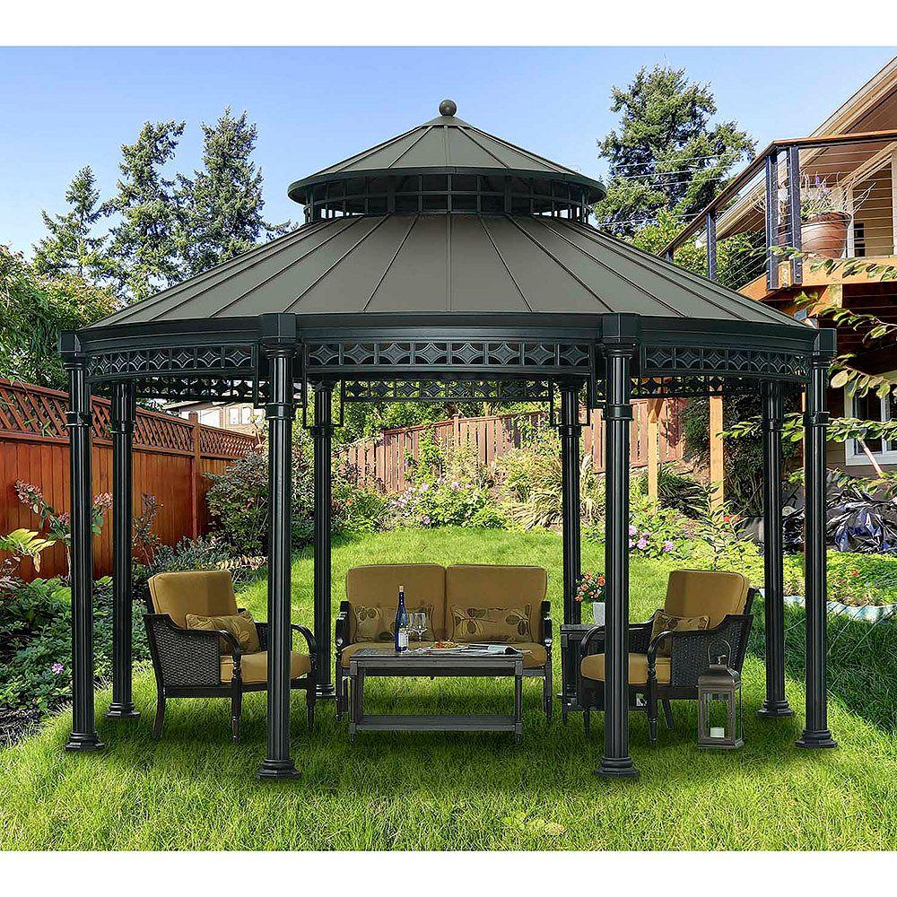 Sunjoy Ontario Round Top couleur cuivre-Gazebo