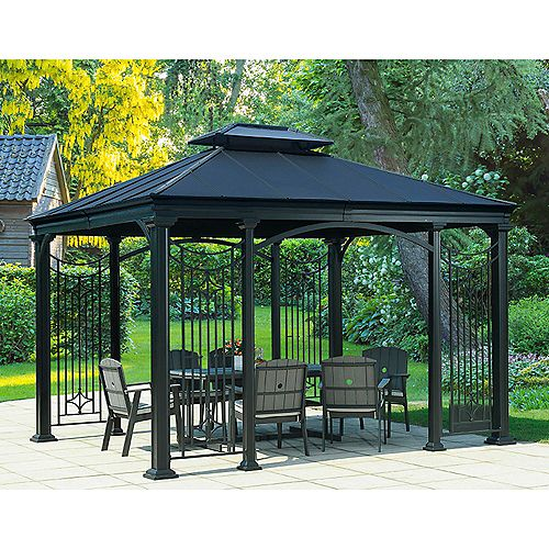 Branson 10 ft. x 12 ft. Gazebo with Vented Canopy in Black