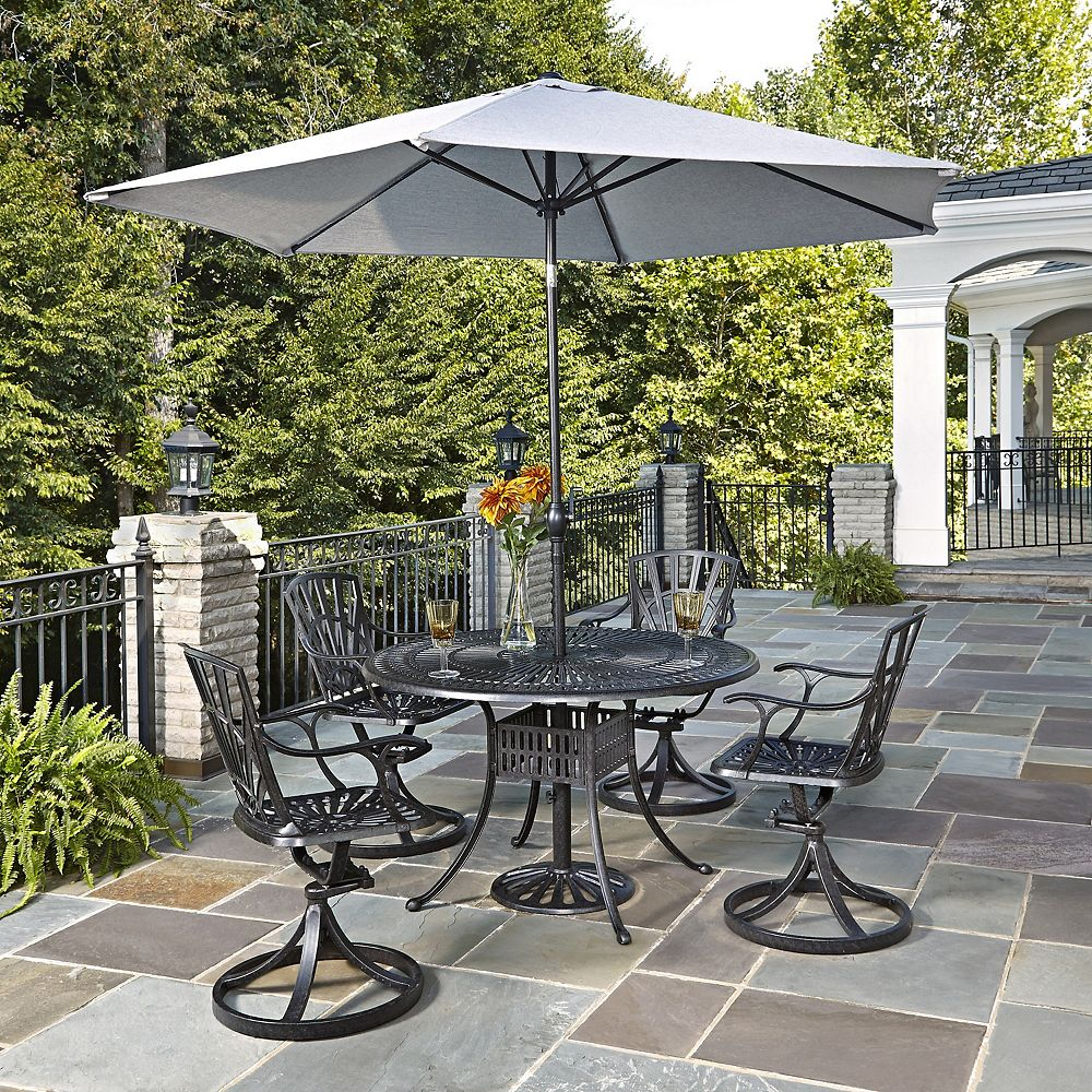 Home Styles Largo 5-Piece 48-inch Dining Set with Swivel Chairs & Umbrella in Charcoal