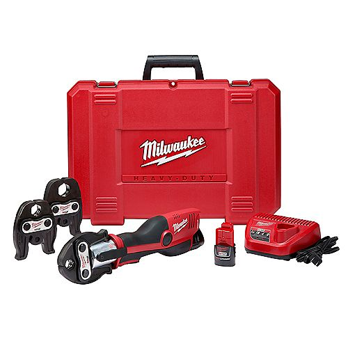 Milwaukee Tool M12 12V Li-Ion Force Logic Cordless Press Tool Kit w/ 3 jaws with (2) 1.5 Ah Battery and Hard Case