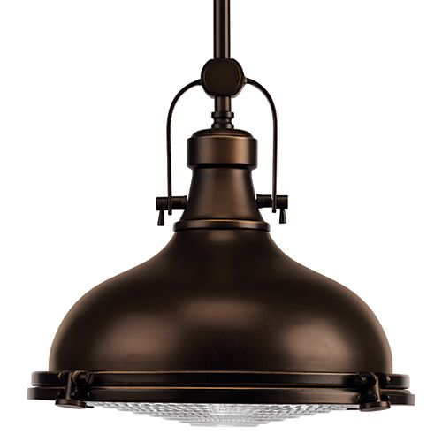 Fresnel Lens Collection 1-Light Antique Bronze Foyer Pendant